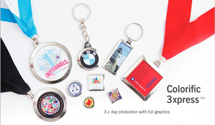Express production on medals, pins, key tags