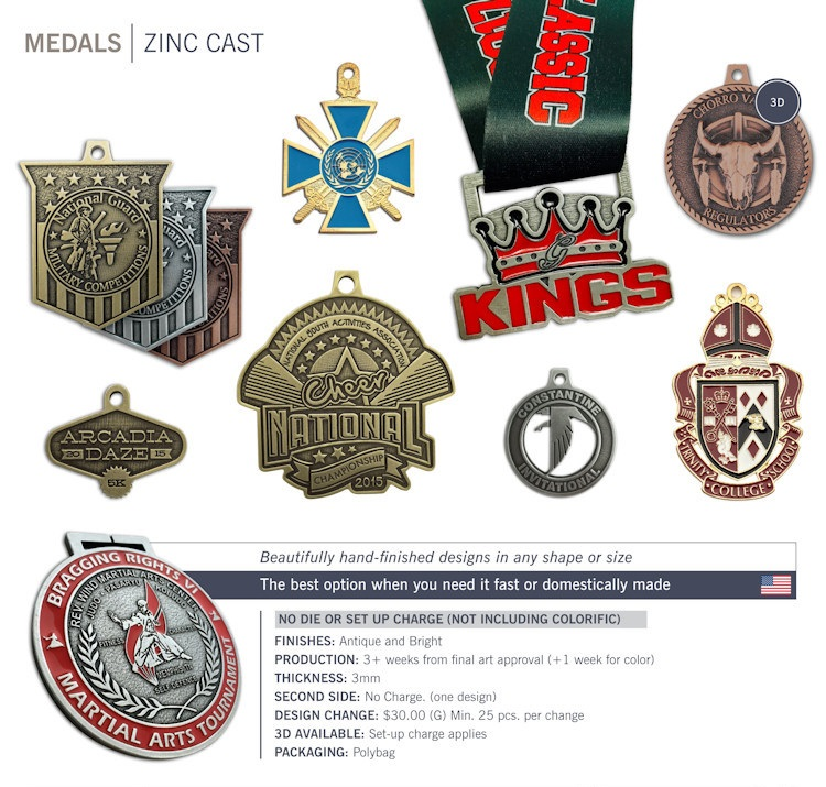 Catalog page of Bright Zinc Cast Medals
