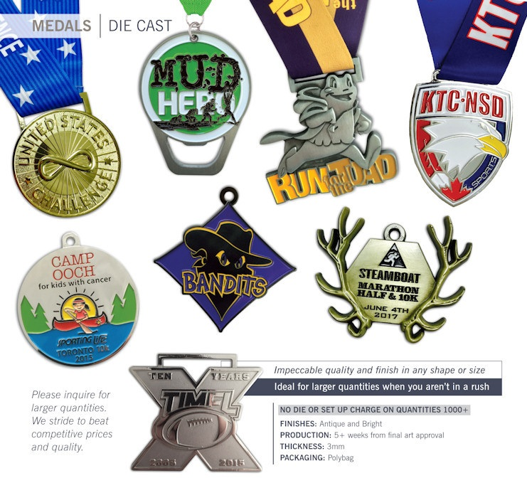Catalog page of Die Cast Medals