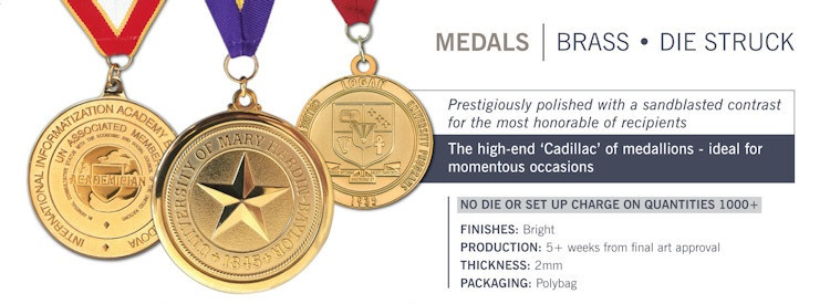 Catalog page of Brass Die Struck Medals