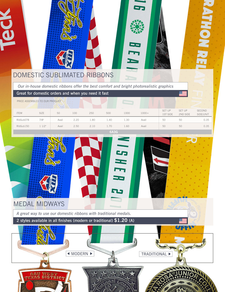Catalog page of Domestic Sublimated Ribbons and Medal Midways