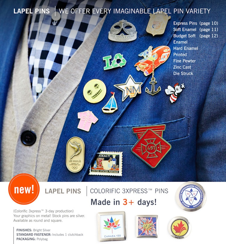 Express production lapel pins - square and round - intricate designs