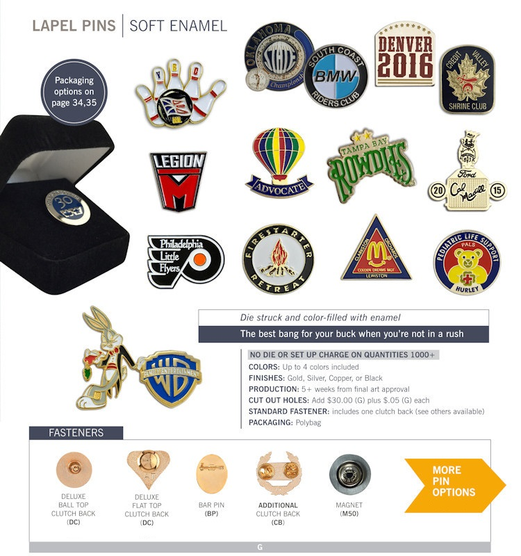 Catalog page of Soft Enamel Lapel Pins