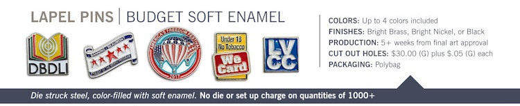 Catalog page of Budget Soft Enamel Lapel Pins
