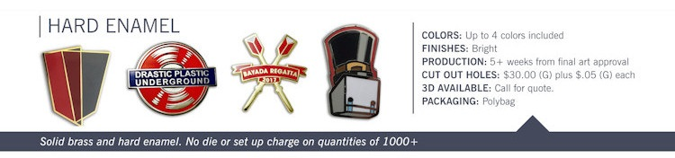 Catalog page of Hard Enamel Lapel Pins