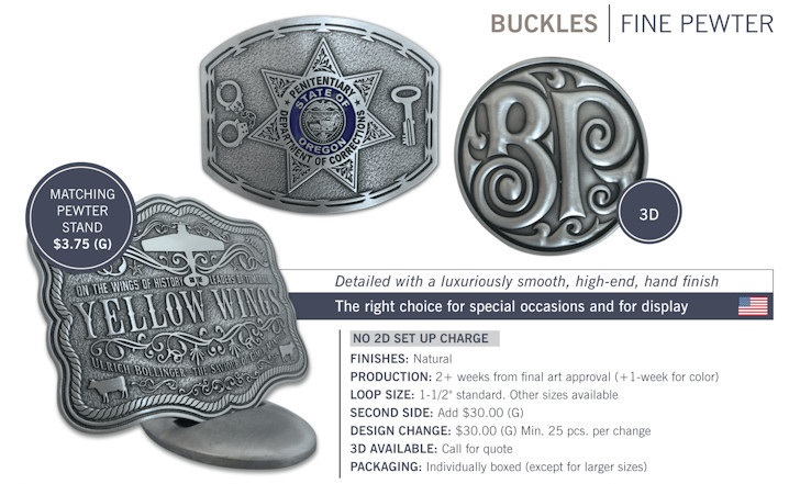 Catalog page of Fine Pewter Custom Belt Buckles