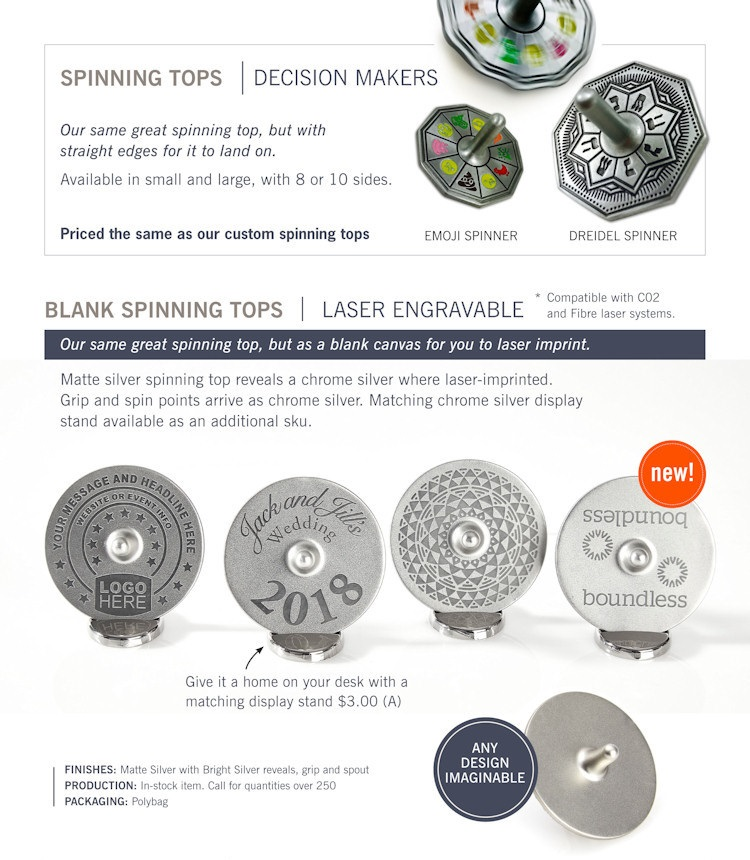 Catalog page of Decision Maker Spinning Tops and Blank Spinning Tops