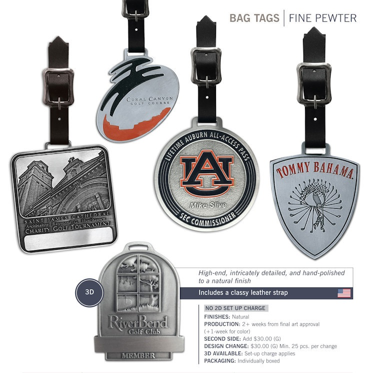 Catalog page of Fine Pewter Bag Tags