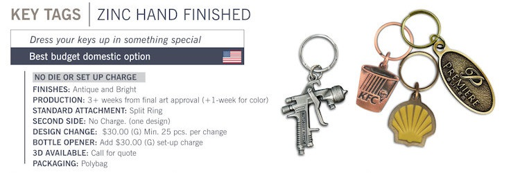 Catalog page of Bright Custom Key Tags