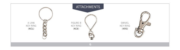 Catalog page of Key Tag Attachments