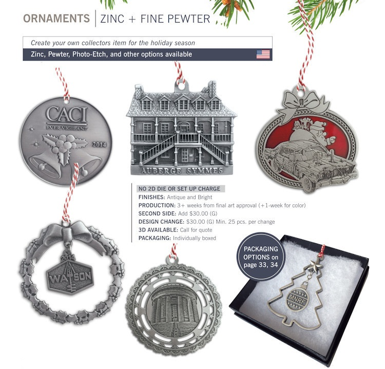 Catalog page of Pewter Custom Ornaments