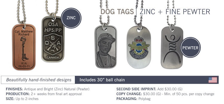 Catalog page of Antique Plated Custom Dog Tags