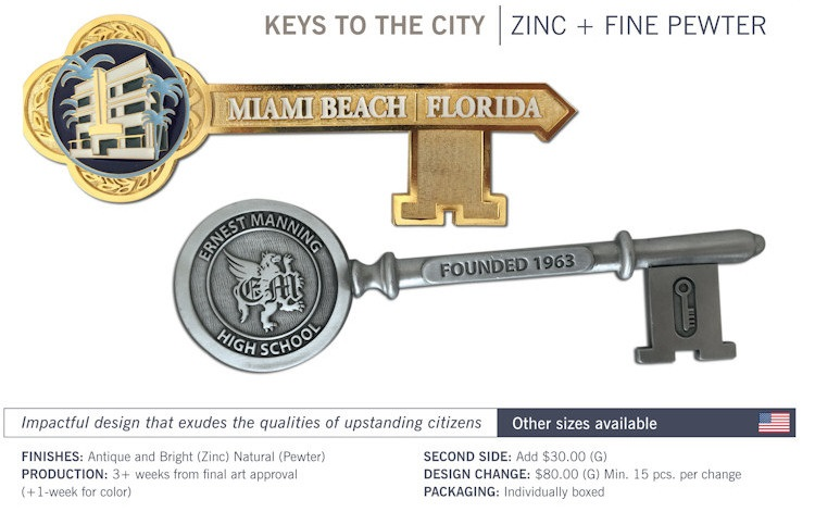 Catalog page of Custom Keys to the City - Zinc and Pewter
