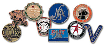 Custom Bright and Antique Hand Finished Lapel Pins