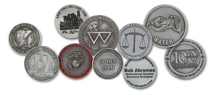 Custom Natural Pewter Coins with Hand Finishing