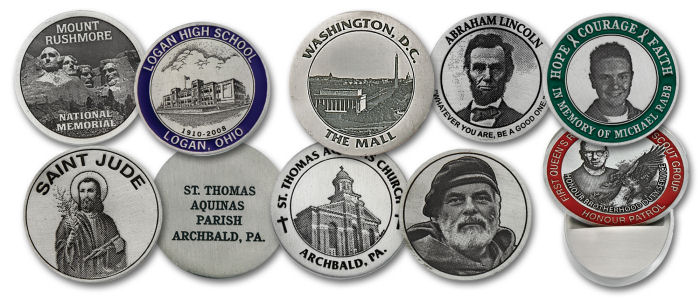 Reproduce photos in fine natural pewter on coins