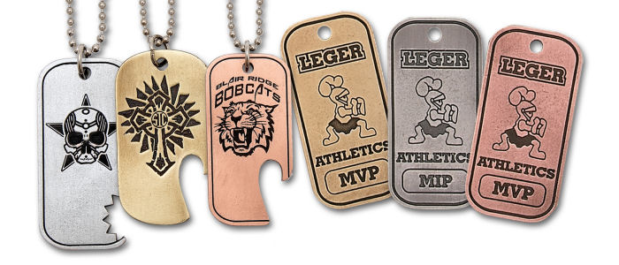 Custom Antique Finish Zinc Dog Tags - Hand Finished