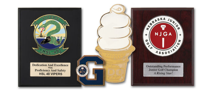 Custom Plaques and Awards - Zinc - available in Antique or Bright Gold, Copper, Silver or 24K Gold plated