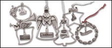 Custom Natural Pewter Christmas Ornaments - Stock Designs with a Custom Dangler